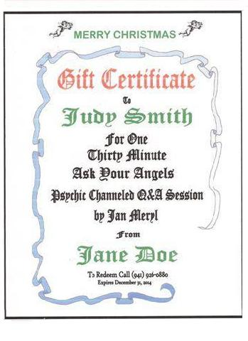 Gift Certificate for sessions with Jan
